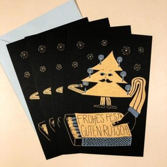 4er-Set FROHES FEST – Din A5-Karten, zweifarbige Risografie