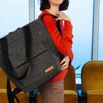 RÅVARE Eleganter Shopper mit Rucksackfunktion, federleichter Taschenrucksack, puristische Rucksacktasche