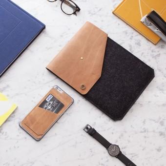 Alexej Nagel Hülle für iPad Air / iPad Air 2 / Pro aus Vintage Leder & Filz anthrazit [B]