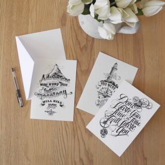 The True Type Handlettering Kartenset »Motto Cards« DIN A5 Klappkarten, illustriert