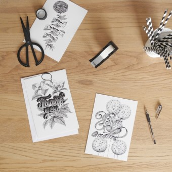 The True Type Handlettering Kartenset »Greeting Cards« DIN A5 Klappkarten, illustriert