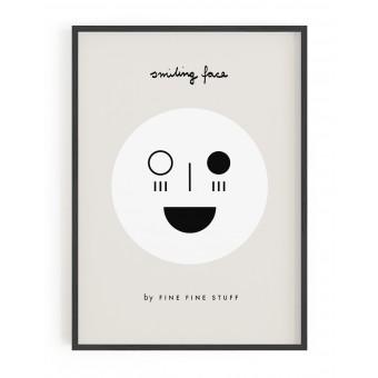 FINE FINE STUFF - Poster - Smiling Face - black - 30x40