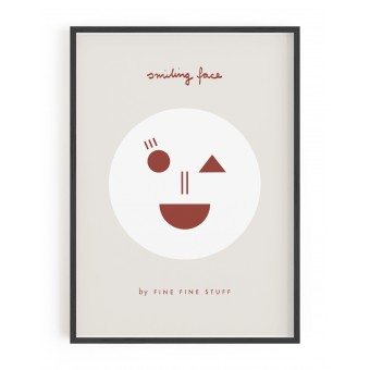 FINE FINE STUFF - Poster - Smiling Face - Terracotta - 30x40