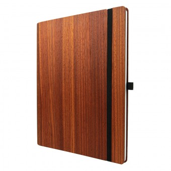 JUNGHOLZ Design Notizbuch WoodBook, Padouk, A4