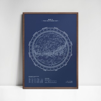 stellavie Map II – The Southern Sky (Night-Blue), Siebdruck