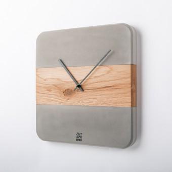 Stilbeton - ZEITSPRUNG Wand- und Standuhr aus Holz und Beton