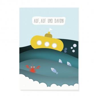 """Edith schmuckes Papier """"Auf, Auf und Davon"""" Postkarte"""