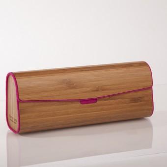 formes Berlin -  Brillenetui aus Holzfurnier - gedämpfter Bambus Pink
