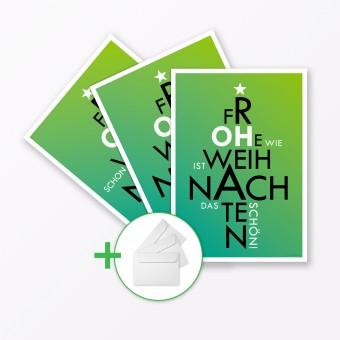 """TYPOP 3-teiliges Set Weihnachtskarte """"Oh..."""" Grün A5 inkl. Umschläge weiß"""
