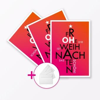 """TYPOP 3-teiliges Set Weihnachtskarten """"Oh..."""" Pink A5 inkl. Umschläge weiß"""