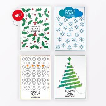 """TYPOP 4-teiliges Set Adventskalenderkarten """"Kerzen, Tannenbaum, Schneeflocken, Stechpalme"""" inkl.Umschläge, Minikarten + Umschläge und Klebepunkte"""
