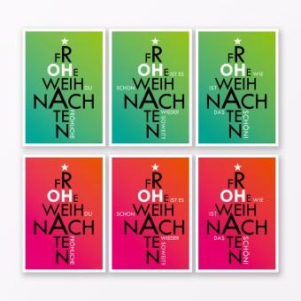 """TYPOP 6-teiliges Set Weihnachtskarten """"Oh..."""" Pink + Grün A5 (ohne Umschläge)"""