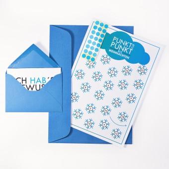 """Adventskalenderkarte """"Schneeflocken"""" inkl. Umschlag, Minikarte + Umschlag und Klebepunkte"""