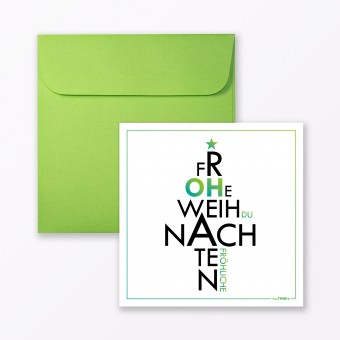 """TYPOP 2-teiliges Set Design WEIHNACHTSKARTE """"Oh du Fröhliche"""" quadratisch inkl. Umschlag"""