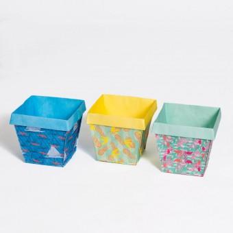 DieStadtgärtner | 3 sommerliche Design-Blumentöpfe aus Tyvekk® | Absolut reiß- und wasserfest | Zum Umtopfen oder als Übertopf | Enthält 3 Motive: Flamingo, Ananas & Möwe