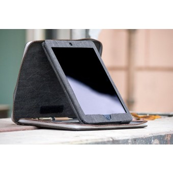 mineD BIG BLIND - iPad Hülle Cover Tasche aus Jeans - GRAU