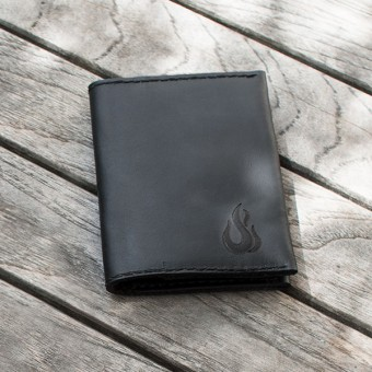 Leather Wallet - Geldbörse aus schwarzem Leder - Portemonnaie - Burning Love