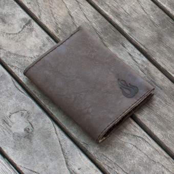 Leather Wallet - Geldbörse aus dunkelbraunem Leder - Portemonnaie - Burning Love