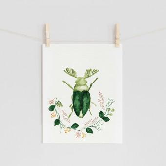 "hasenkinder - Aquarellbild ""green beetle"" 18x24cm"