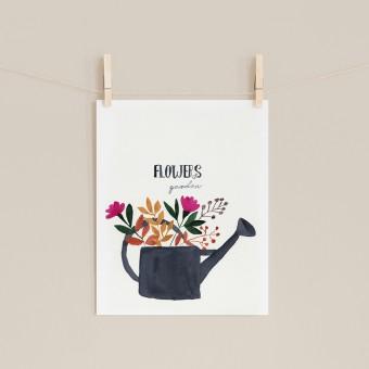 "Aquarellbild ""garden flowers"" 18x24cm"
