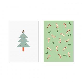 "Edith schmuckes Papier ""Oh Tannenbaum - Postkarten Set"" 2 Postkarten"
