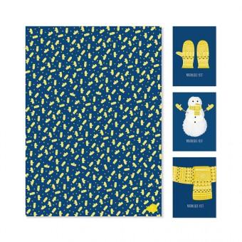 """Edith schmuckes Papier """"Kuschliges Geschenk - Set""""  3 Bögen Geschenkpapier und 3 Postkarten"""