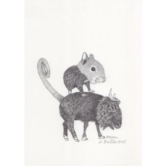 Anka Büchler, Das Liebesspiel der Wolpertinger, limitierte Digitaldruckserie, A5, Motiv 17