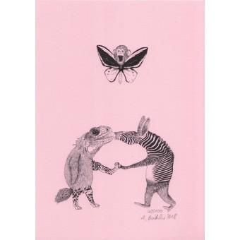 Anka Büchler, Das Liebesspiel der Wolpertinger, limitierte Digitaldruckserie, A5, Motiv 04
