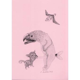 Anka Büchler, Das Liebesspiel der Wolpertinger, limitierte Digitaldruckserie, A5, Motiv 07