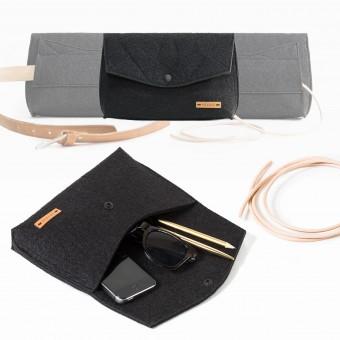 RÅVARE Schicke Umhängetasche mit 2 Tragemöglichkeiten, Clutch & Gürteltasche, kleine Handtasche, Abendtasche in schwarz [GJOKO]
