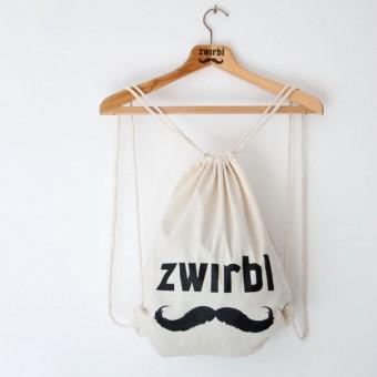 Zwirbl Moustache Gym Bag // white